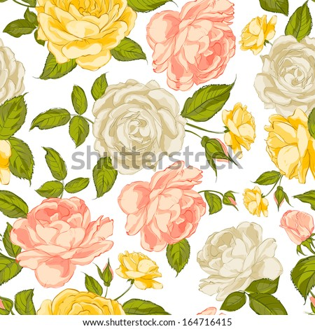 Roses seamless background. Vector illustration. - stock vector