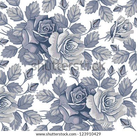 Roses. Seamless classic pattern. Beautiful blue, cyan flowers. Vintage background with blooming flowers. Drawing, engraving textile. Freehand. Wallpaper baroque. Vector Victorian style Illustration. - stock vector