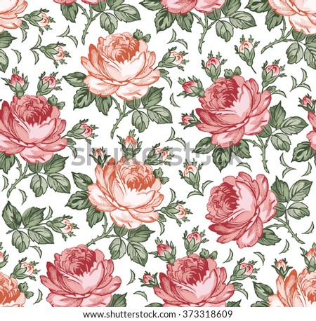 Roses. Seamless classic pattern. Beautiful pink red flowers. Vintage background realistic blooming flowers. Drawing engraving textile. Freehand. Wallpaper baroque. Vector Victorian style Illustration. - stock vector