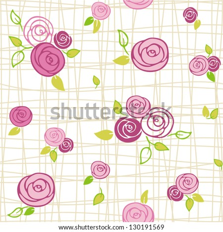 roses - seamless pattern - stock vector