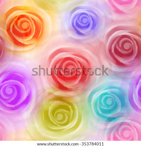Roses seamless pattern, colorful. Vector, EPS10. - stock vector