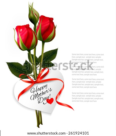 Roses with Happy Mother's Day gift card. Vector. - stock vector