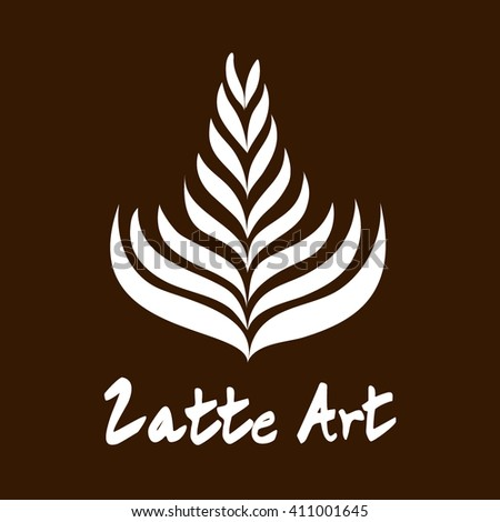 Rosetta Coffee Latte Art Logo, Icon, Symbol for Coffee Shop with Coffee Color Background - stock vector