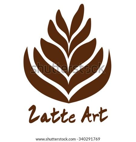 Rosetta Tree Coffee Latte Art Logo Icon - stock vector