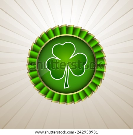 Rosette Ribbon for happy St. Patricks Day - stock vector
