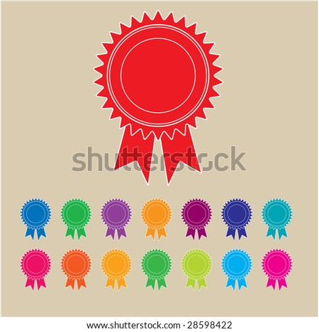 Rosettes in a range of colors - stock vector