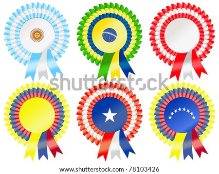 Rosettes to represent South American countries, including Argentina, Brazil, Peru, Chile, Colombia and Venezuela - stock vector
