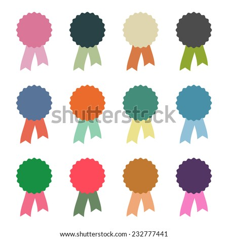 rosettes with ribbons in retro colors - stock vector