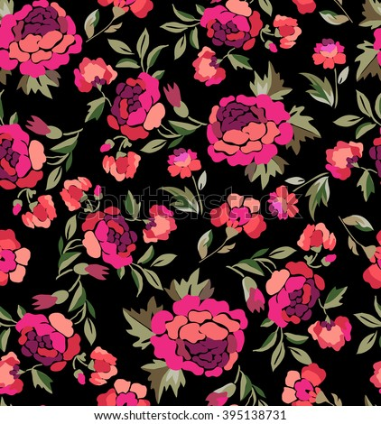 Rosie pink Spanish Floral print ~ seamless background - stock vector
