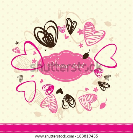 rosy card with hearts - stock vector