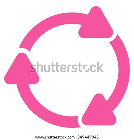 Rotate Cw vector icon. Style is flat symbol, pink color, rounded angles, white background.