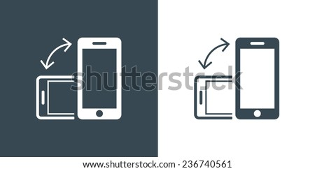 Rotate Smartphone or Cellular Phone Icons Set in Vector - stock vector