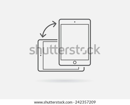 Rotate Smartphone or Cellular Phone or Tablet Icons in Vector  - stock vector