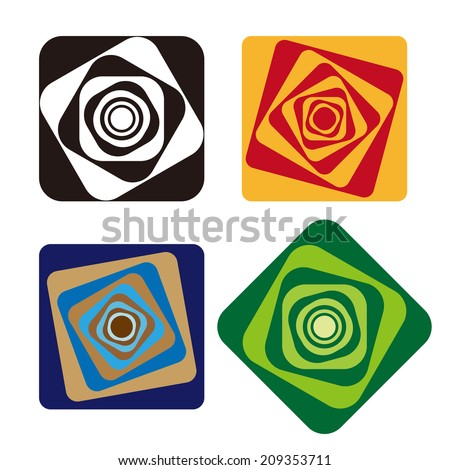 Rotating squares logos, full of feeling dizzy. Design abstract vector logo template. You can use in the dizzy and wave concept of pattern - stock vector