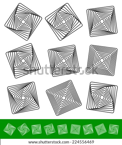 Rotating squares. Rotation, geometry, or vortex elements. - stock vector