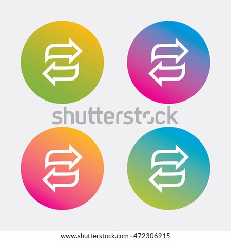 Rotation icon. Repeat symbol. Refresh sign. Gradient flat buttons with icon. Modern design. Vector
