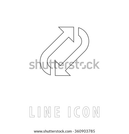rotation Outline simple vector icon on white background. Line pictogram with text  - stock vector