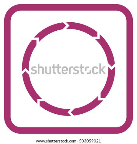 Rotation purple vector icon. Image style is a flat iconic symbol in a rounded square frame on a white background.