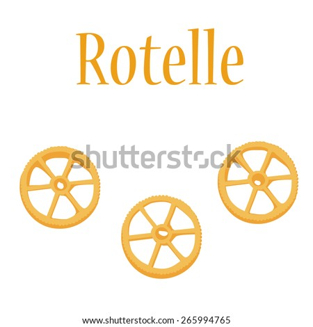 Rotelle pasta vector isolated, macaroni icon, pasta collection - stock vector
