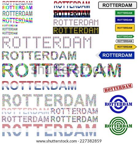 Rotterdam text design set - stock vector