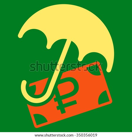 Rouble Financial Safety vector icon. Style is bicolor flat symbol, orange and yellow colors, rounded angles, green background.