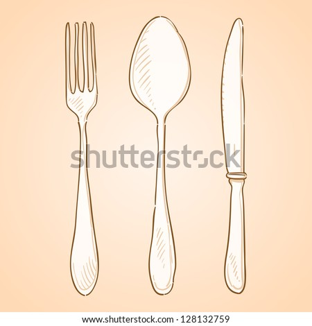 Rough Cutlery Illustration - Brown handmade illustration of cutlery isolated on white background - stock vector