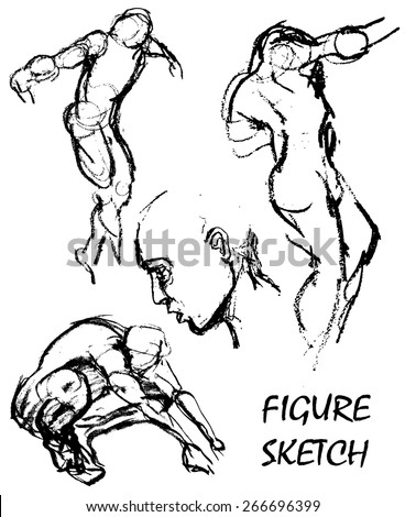 rough pencil figure sketches of man in various poses and angles