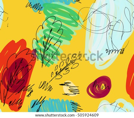 Rough sketched trees with bird on bright yellow background Hand drawn with ink, marker and brush. Seamless ethnic background.design.