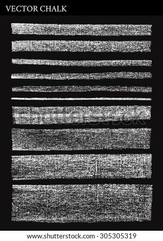 Rough Vector Hand drawn Chalk Lines on blackboard. Vector clip art. - stock vector