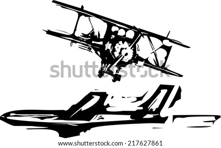 Rough woodcut style images of a jet and a biplane aircraft. - stock vector