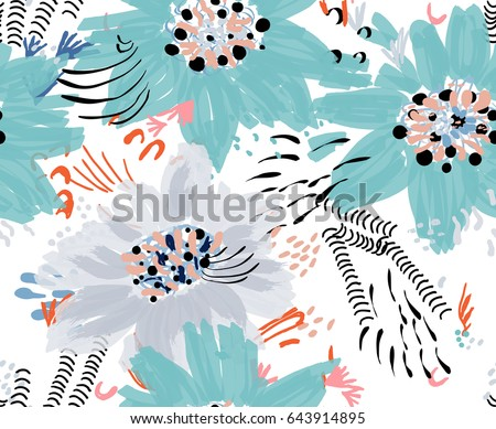 roughly drawn spring flowers and seamless pattern universal bright background for greeting