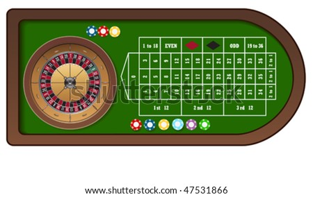 Roulette game table with colorful chips for online casino, vector - stock vector