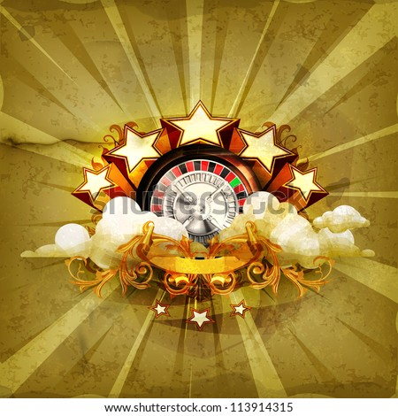 Roulette insignia,  old-style vector background - stock vector