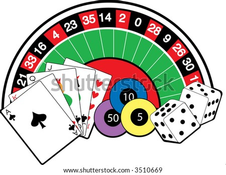 Roulette wheel,cards,dice and poker chips
