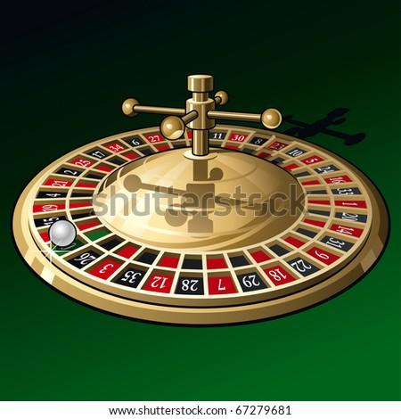 Roulette Wheel on Dark Green Background. Vector Illustration - stock vector