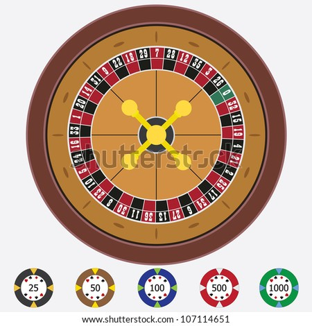 Roulette with chips on the white background. - stock vector
