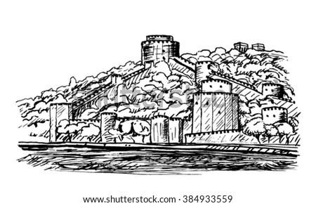 Roumeli Hissar Castle sketch - stock vector