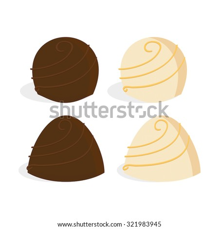 Round and conical chocolate truffles, in milk chocolate and white chocolate, with a spiral decoration