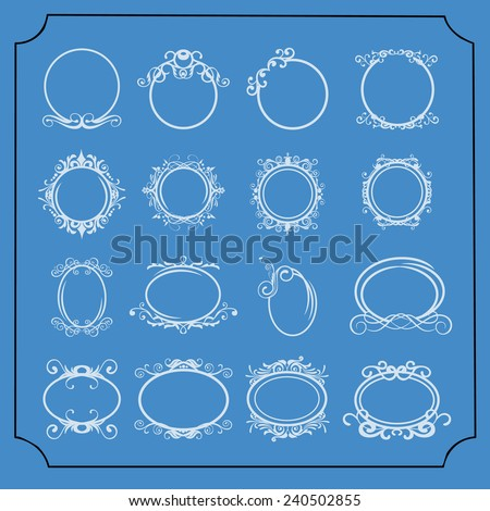round and oval vintage frames set - stock vector