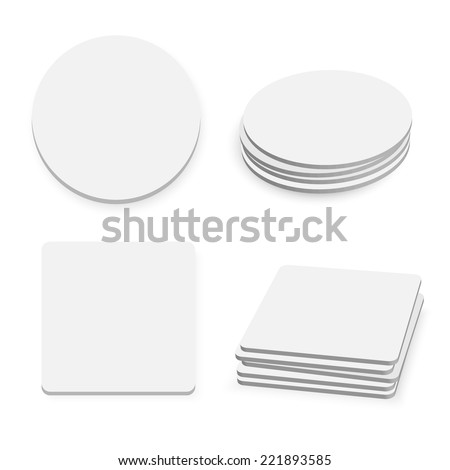 Round and square table coasters isolated on white background, vector illustration  - stock vector