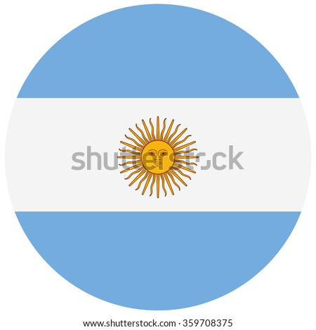 Round Argentina flag vector icon. Argentina flag button - stock vector