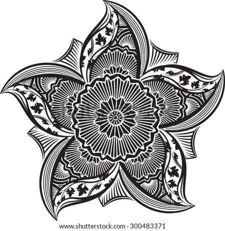 Round asymmetrical decorative element - lace mandala in zentangle style. Stylized vector flower for design or tattoo.  - stock vector