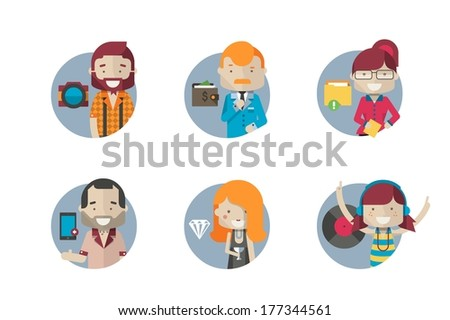 round avatar - stock vector