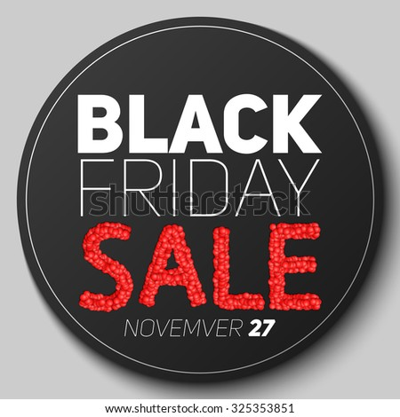 Round badge with Black Friday Sale vector illustration. Sale constructed of abstract red spheres. Conceptual advertising design on dark background.  - stock vector