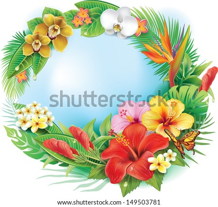 Round banner from tropical flowers and leaves - stock vector