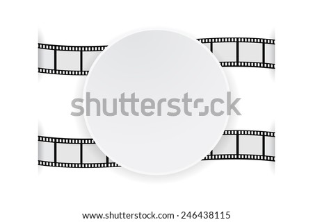 round banner paper on film strip - stock vector