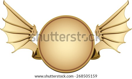 Round banner with bat wings on the sides - stock vector