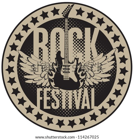 round banner with the guitar for a rock festival - stock vector