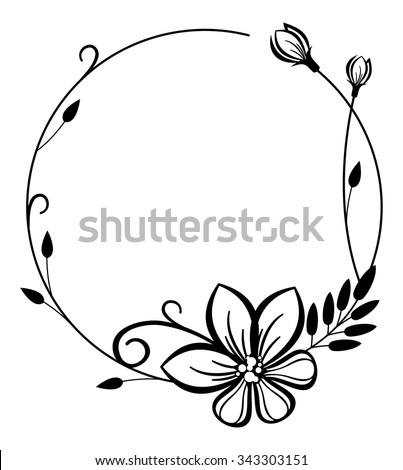 Round black and white frame with flowers - stock vector