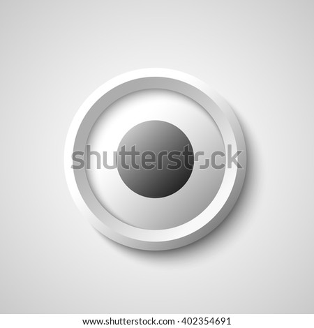 Round black and white web button. 3D. Vector illustration.